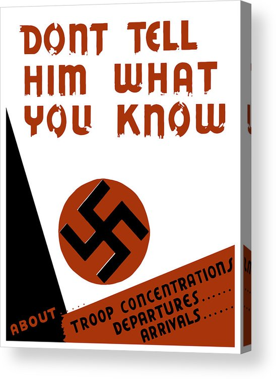Wpa Acrylic Print featuring the digital art Don't Tell Him What You Know by War Is Hell Store