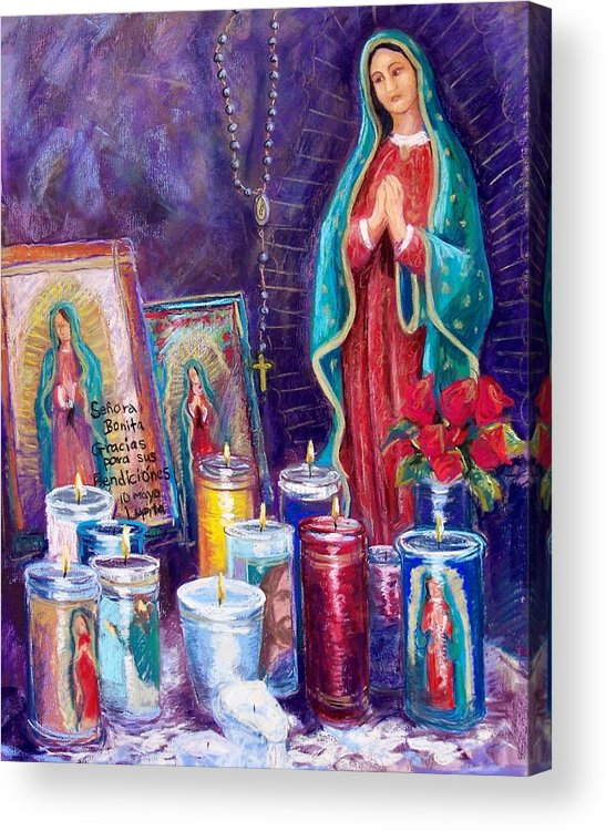 Guadalupe Acrylic Print featuring the pastel Guadalupe Y Las Velas Candles by Candy Mayer