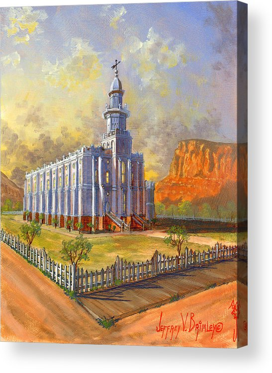 St. George Temple Acrylic Print featuring the painting Historic St. George Temple by Jeff Brimley