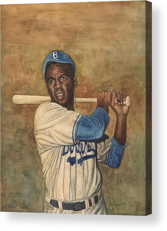 Baseball Acrylic Print featuring the painting Jackie Robinson by Robert Casilla