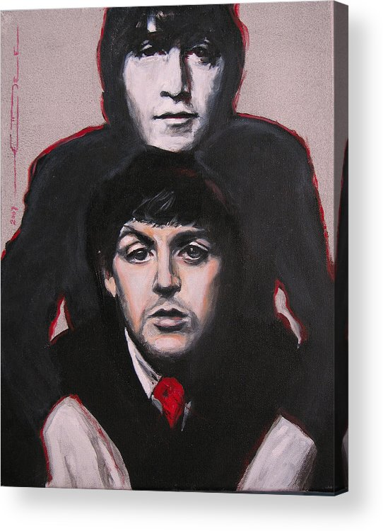 The Beatles Acrylic Print featuring the painting John's Ghost by Eric Dee
