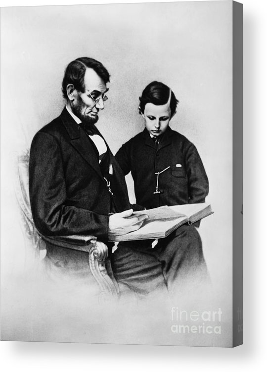 History Acrylic Print featuring the photograph Lincoln Reading To His Son by Photo Researchers