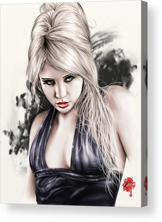 Pete Acrylic Print featuring the painting Portrait Of Miss Mosh by Pete Tapang