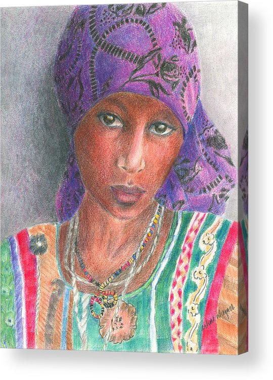 Purple Acrylic Print featuring the drawing The Purple Scarf by Arline Wagner