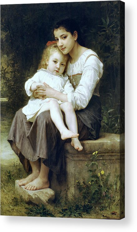 Big Sister Acrylic Print featuring the digital art Big Sister by William Bouguereau