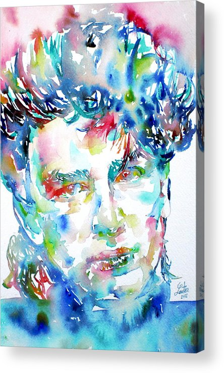 Bono Acrylic Print featuring the painting Bono Watercolor Portrait.1 by Fabrizio Cassetta