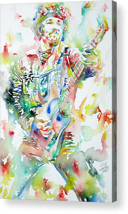 Bruce Acrylic Print featuring the painting Bruce Springsteen Playing The Guitar Watercolor Portrait by Fabrizio Cassetta
