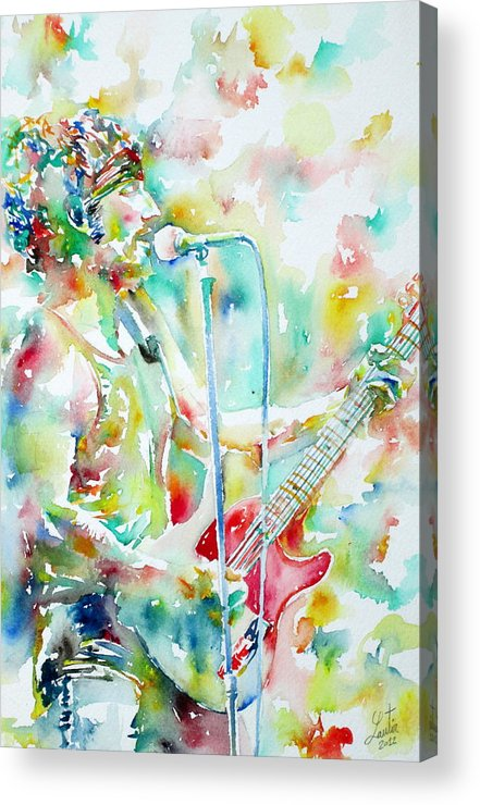 Bruce Acrylic Print featuring the painting Bruce Springsteen Playing The Guitar Watercolor Portrait.1 by Fabrizio Cassetta
