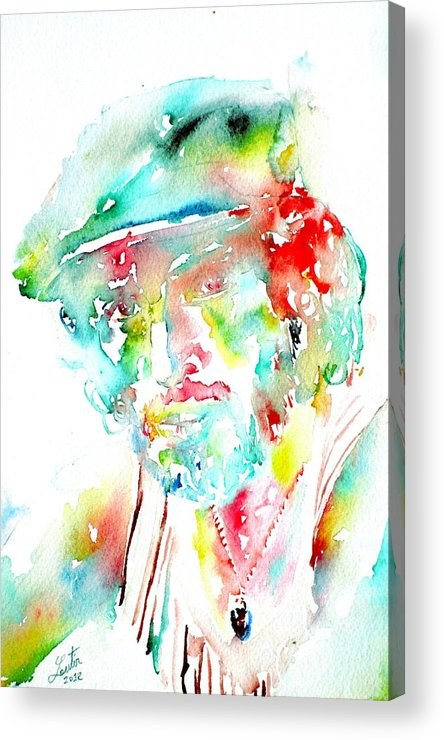 Bruce Acrylic Print featuring the painting Bruce Springsteen Watercolor Portrait by Fabrizio Cassetta