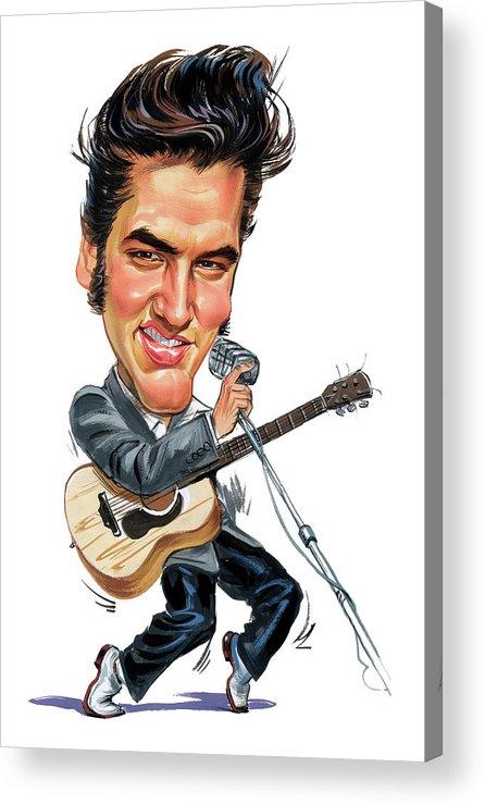 Elvis Presley Acrylic Print featuring the painting Elvis Presley by Art