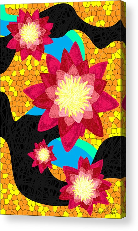 Lotus Flower Bombs Acrylic Print featuring the drawing Lotus Flower Bombs In Magenta by Pierre Louis