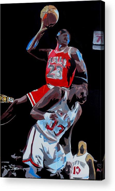 Michael Jordan Acrylic Print featuring the drawing The Dunk by Don Medina