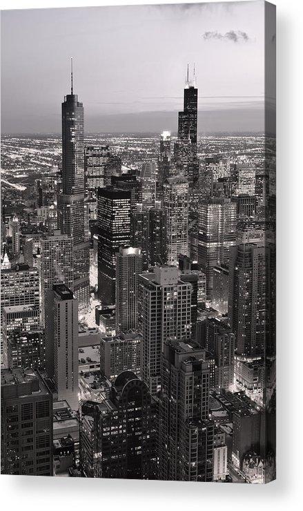 Aerial Acrylic Print featuring the photograph Chicago Loop Sundown B And W by Steve Gadomski