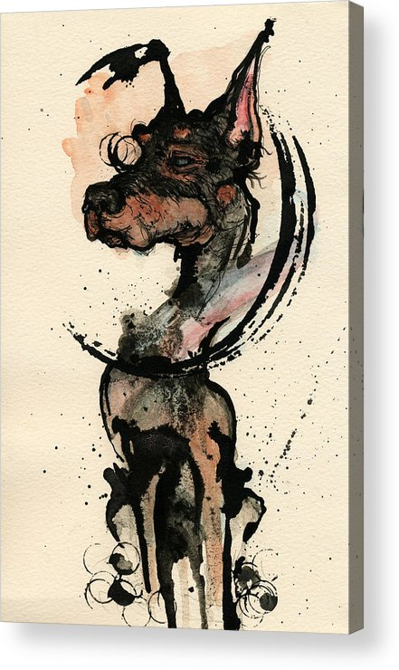 Dog Acrylic Print featuring the painting Doberman by Mark M Mellon