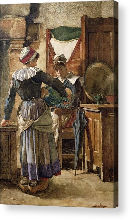 Her Acrylic Print featuring the painting Her First Born by Walter Langley