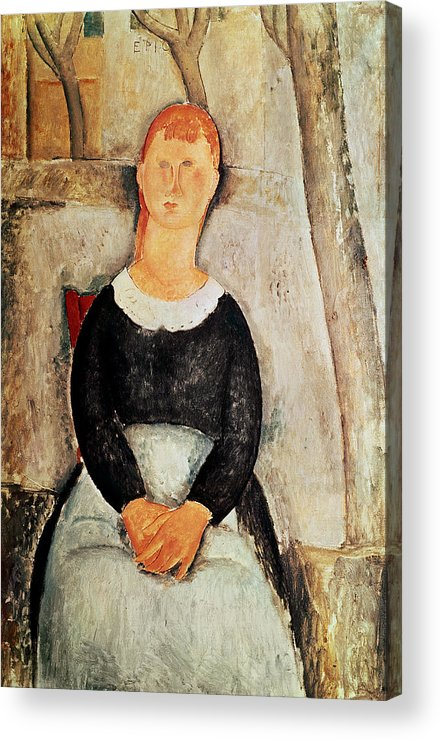 The Acrylic Print featuring the painting The Beautiful Grocer by Amedeo Modigliani