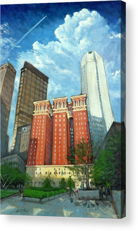 Cityscape Acrylic Print featuring the painting The Omni William Penn Hotel by Erik Schutzman