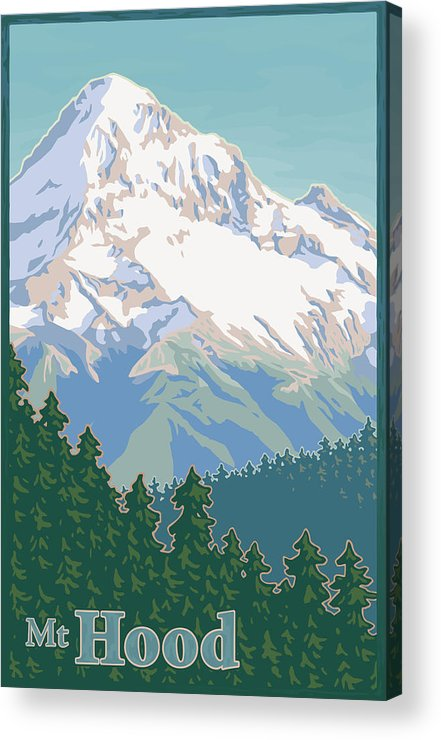 Mount Acrylic Print featuring the digital art Vintage Mount Hood Travel Poster by Mitch Frey