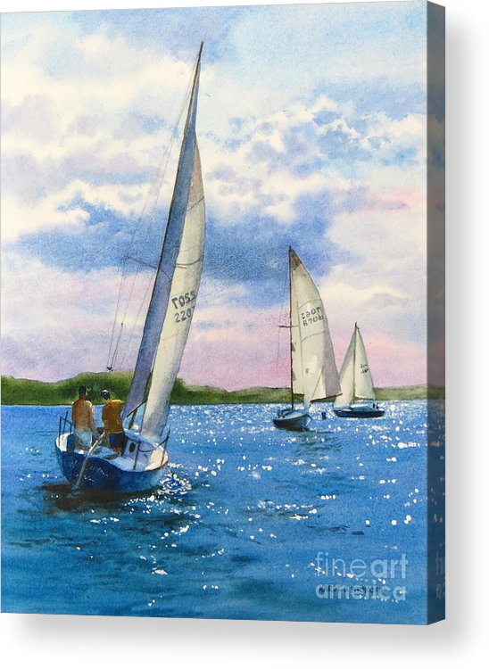 Clouds Acrylic Print featuring the painting Afternoon Sail by Karol Wyckoff