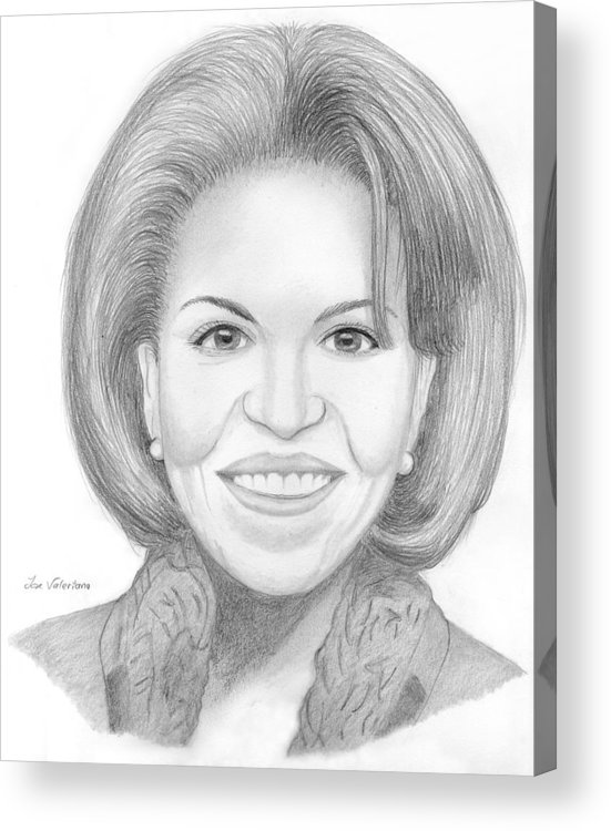 Michelle Obama Acrylic Print featuring the drawing Michelle Obama by M Valeriano
