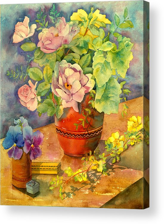 Julia Rowntree Acrylic Print featuring the photograph Roses And Pansies by Julia Rowntree