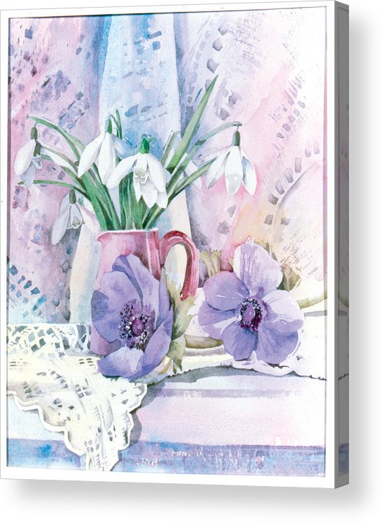 Julia Rowntree Acrylic Print featuring the photograph Snowdrops And Anemones by Julia Rowntree