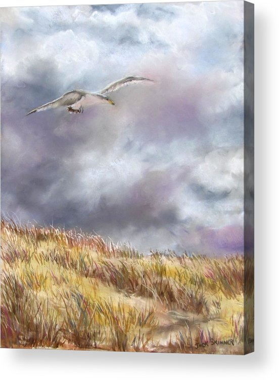 Seagull Acrylic Print featuring the painting Seagull Flying Over Dunes by Jack Skinner