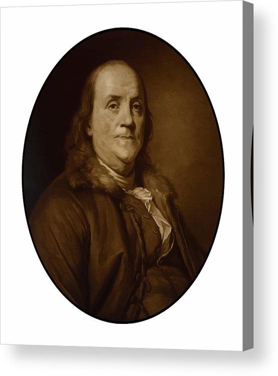 Benjamin Franklin Acrylic Print featuring the painting Benjamin Franklin by War Is Hell Store