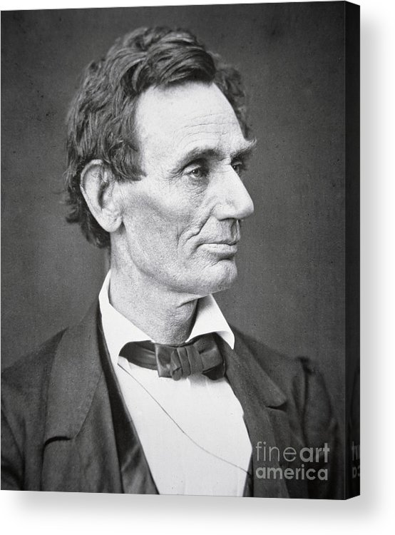 Abraham Lincoln (1809-65) 1860 (b/w Photo) By Alexander Hesler (1823-95) Acrylic Print featuring the photograph Abraham Lincoln by Alexander Hesler