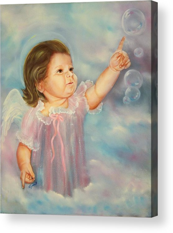 Angel Acrylic Print featuring the painting Angel Baby by Joni McPherson