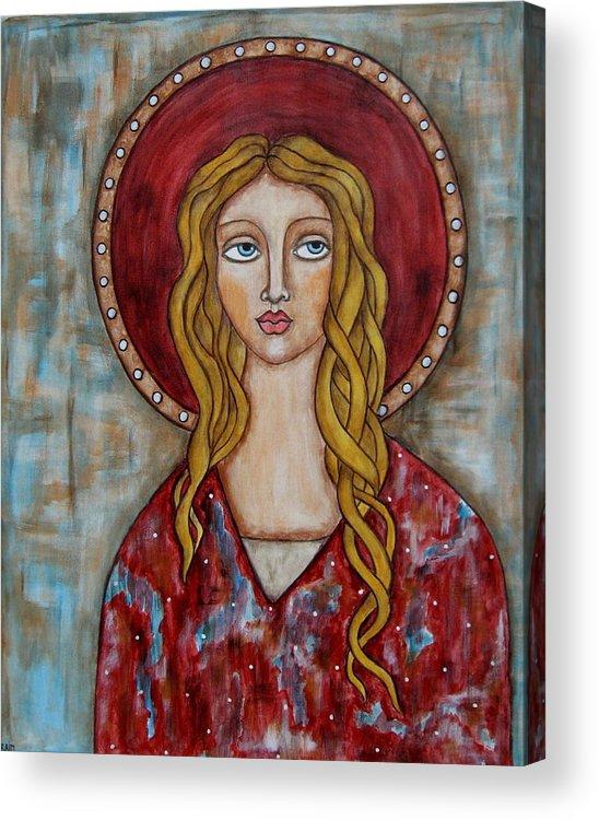 Folk Art Paintings Paintings Acrylic Print featuring the painting Chamuel by Rain Ririn