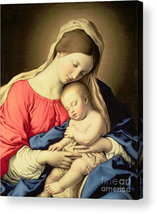 Madonna Acrylic Print featuring the painting Madonna And Child by Il Sassoferrato