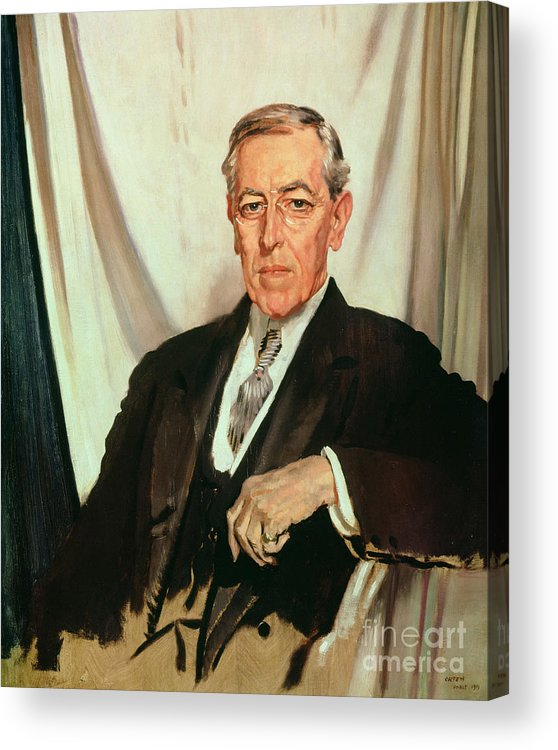 Portrait Of Woodrow Wilson (1856-1924) C.1919 (oil On Canvas) By Sir William Orpen (1878-1931) Acrylic Print featuring the painting Portrait Of Woodrow Wilson by Sir William Orpen