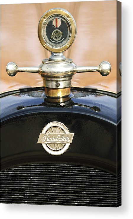 1922 Studebaker Touring Acrylic Print featuring the photograph 1922 Studebaker Touring Hood Ornament by Jill Reger