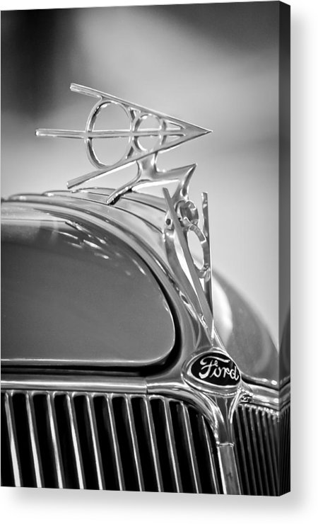1936 Ford Deluxe Roadster Acrylic Print featuring the photograph 1936 Ford Deluxe Roadster Hood Ornament 2 by Jill Reger