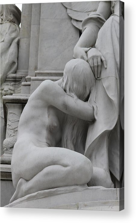 Sad Sadness Girl Female Woman Angel Statue Portrait Expressionism Photograph Memorial War London Buckingham Palace Acrylic Print featuring the photograph Sadness by Stefan Kuhn