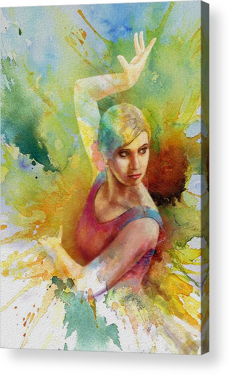 Ballet Dancer Acrylic Print featuring the painting Ballet Dancer by Corporate Art Task Force
