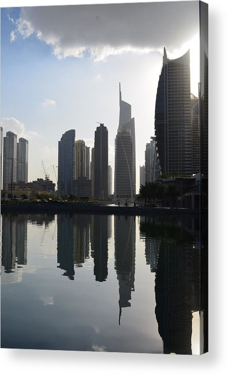 A Scene I Spotted Behind My Residence Building In Dubai Acrylic Print featuring the photograph Angelique by Rami Khoury