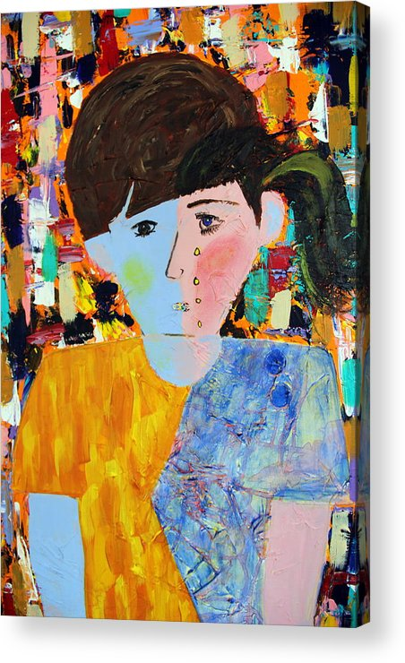 Abstract Acrylic Print featuring the painting Autism - Child And Mother by Carmencita Balagtas