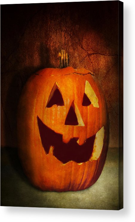 Autumn Acrylic Print featuring the photograph Autumn - Halloween - Jack-o-lantern by Mike Savad