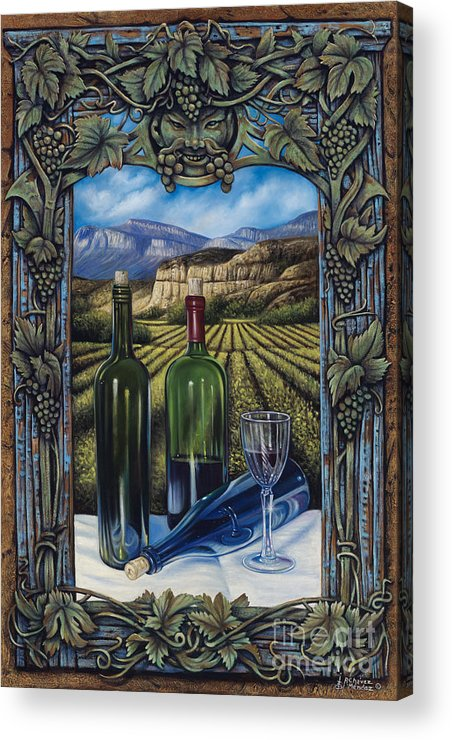Wine Acrylic Print featuring the painting Bacchus Vineyard by Ricardo Chavez-Mendez