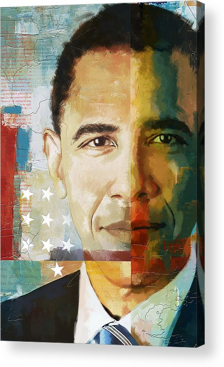Barack Obama Acrylic Print featuring the painting Barack Obama by Corporate Art Task Force