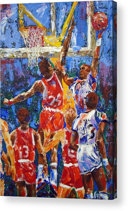 Basketball Acrylic Print featuring the painting Basketball No 1 by Walter Fahmy