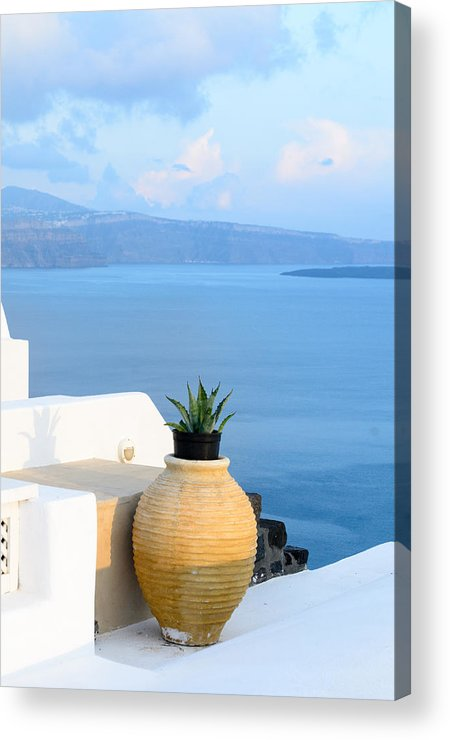Greece Acrylic Print featuring the photograph Blue And White by Zoomclickboom Studio