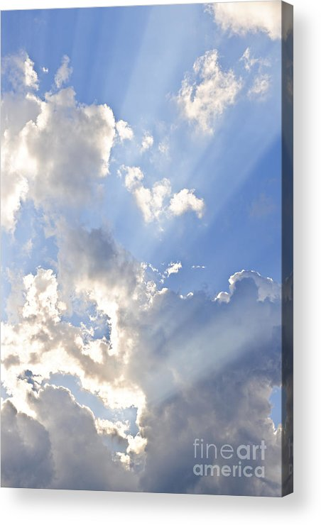 Sky Acrylic Print featuring the photograph Blue Sky With Sun Rays by Elena Elisseeva