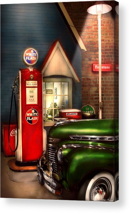 Savad Acrylic Print featuring the photograph Car - Station - White Flash Gasoline by Mike Savad