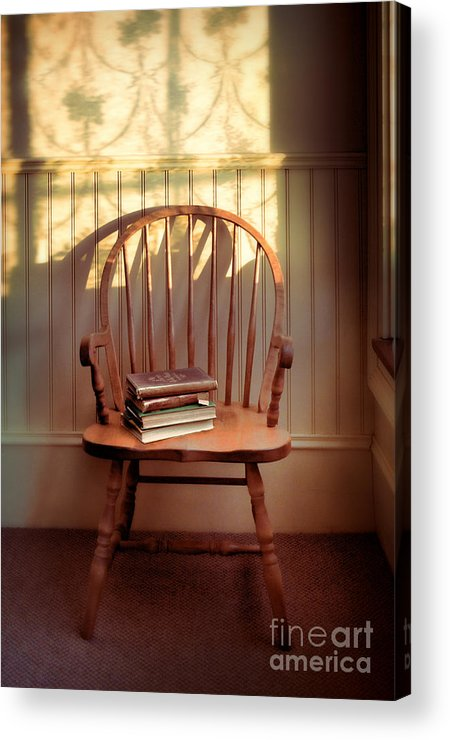 Chair Acrylic Print featuring the photograph Chair And Lace Shadows by Jill Battaglia