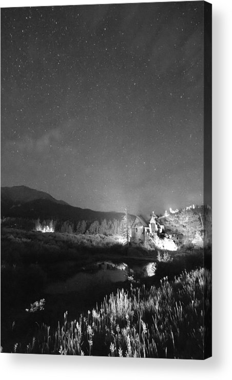 Old Churches Acrylic Print featuring the photograph Chapel On The Rock Stary Night Portrait Bw by James BO Insogna