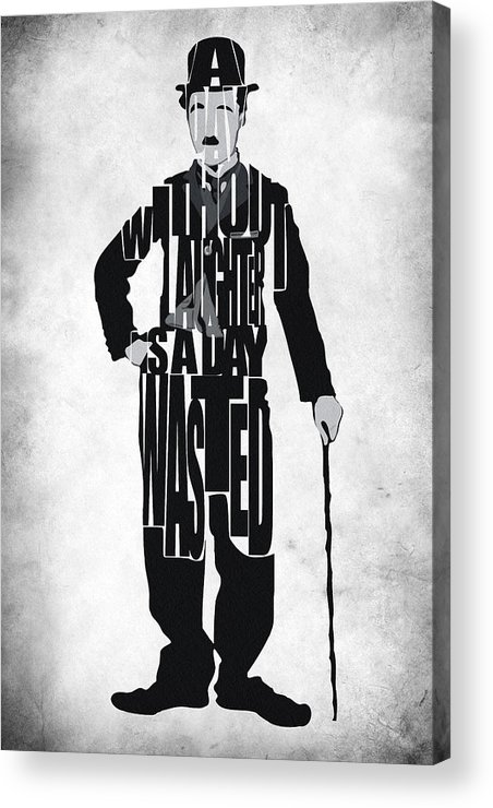 Charlie Chaplin Acrylic Print featuring the painting Charlie Chaplin Typography Poster by Ayse Deniz
