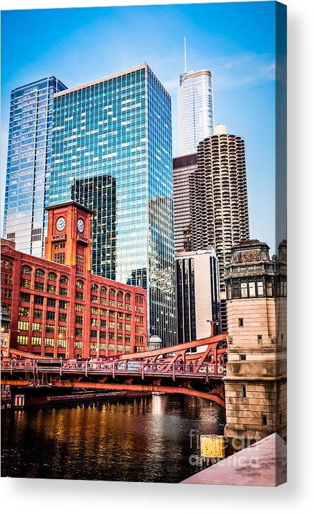 America Acrylic Print featuring the photograph Chicago Downtown At Lasalle Street Bridge by Paul Velgos